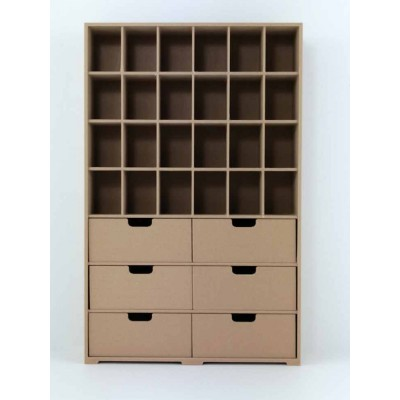 Storage Unit with Shelves and 6 Drawers & Storage Shelf - 1/12 Scale